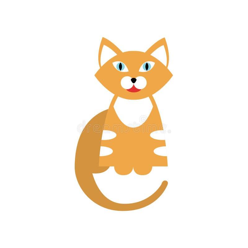 Tiger Cat Breed Primitive Cartoon Illustration rojo ilustración del vector