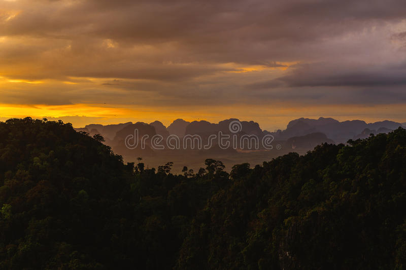 Tiger Cave Temple, Thailand. Picturesque observation point. Beau. Tiger Cave Temple at Krabi Province, Thailand. Picturesque observation point. Beautiful sunset stock photo