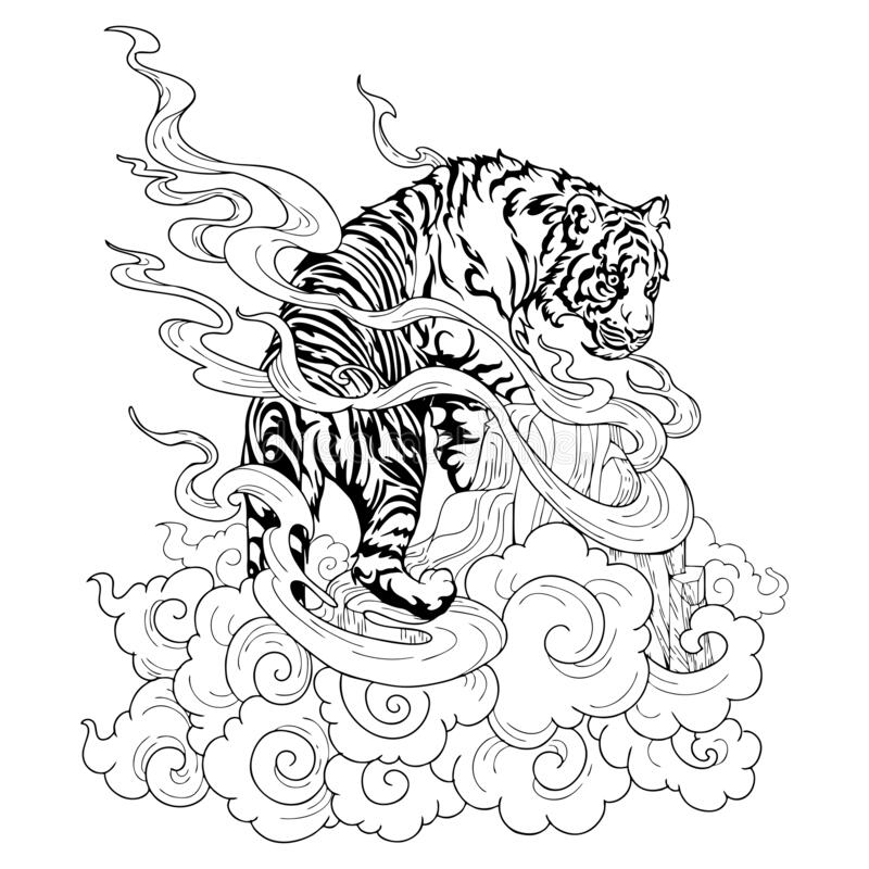 Free Tiger Climbing On Hill And Cloud Design With Chinese Or Japanese Tattoo Illustration Ink Doodle Drawing  Oriental For Coloring Stock Photos - 176770903