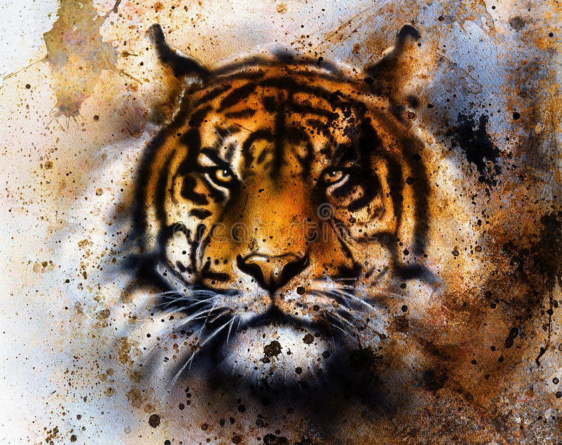 Tiger collage on color abstract background, rust structure, wildlife animals, eye contact.. Tiger collage on color abstract background, rust structure, wildlife stock illustration