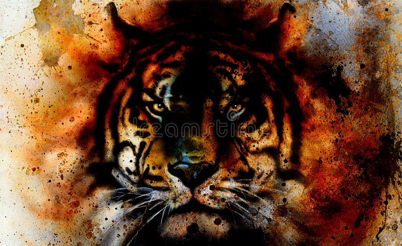 Tiger collage on color abstract background, rust structure, wildlife animals, eye contact.  vector illustration