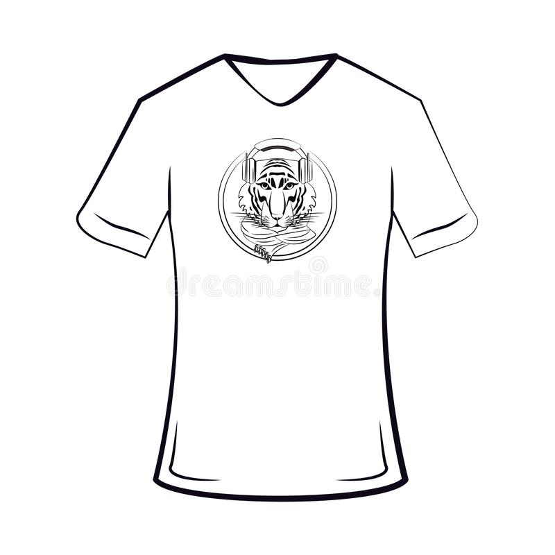 Tiger cool sketch on tshirt. Tiger hipster cool sketch on tshirt in black and white vector illustration graphic design royalty free illustration