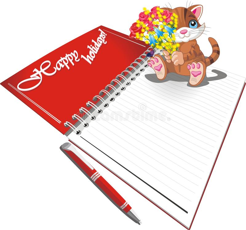 Tiger cub with flowers sitting on a blank sheet of paper stock illustration