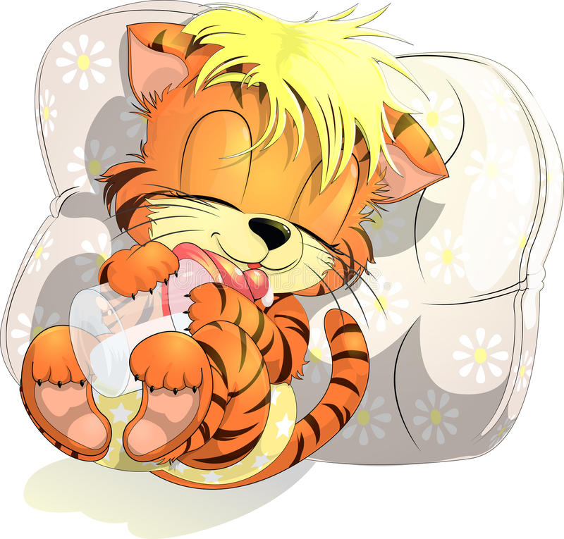 Tiger cub. Lying on a pillow with a small bottle vector illustration