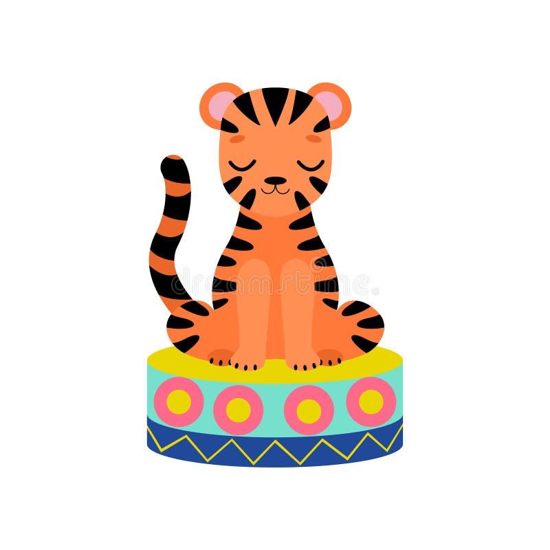 Tiger Cub Sitting lindo en la etapa, ejecución animal divertida en el ejemplo del vector de la demostración del circo stock de ilustración