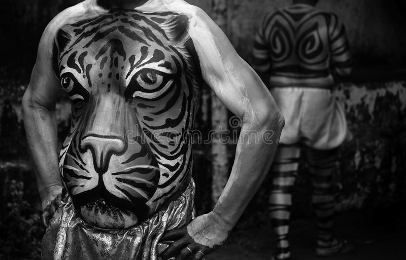 Tiger Dance Artist showing belly painting stock image