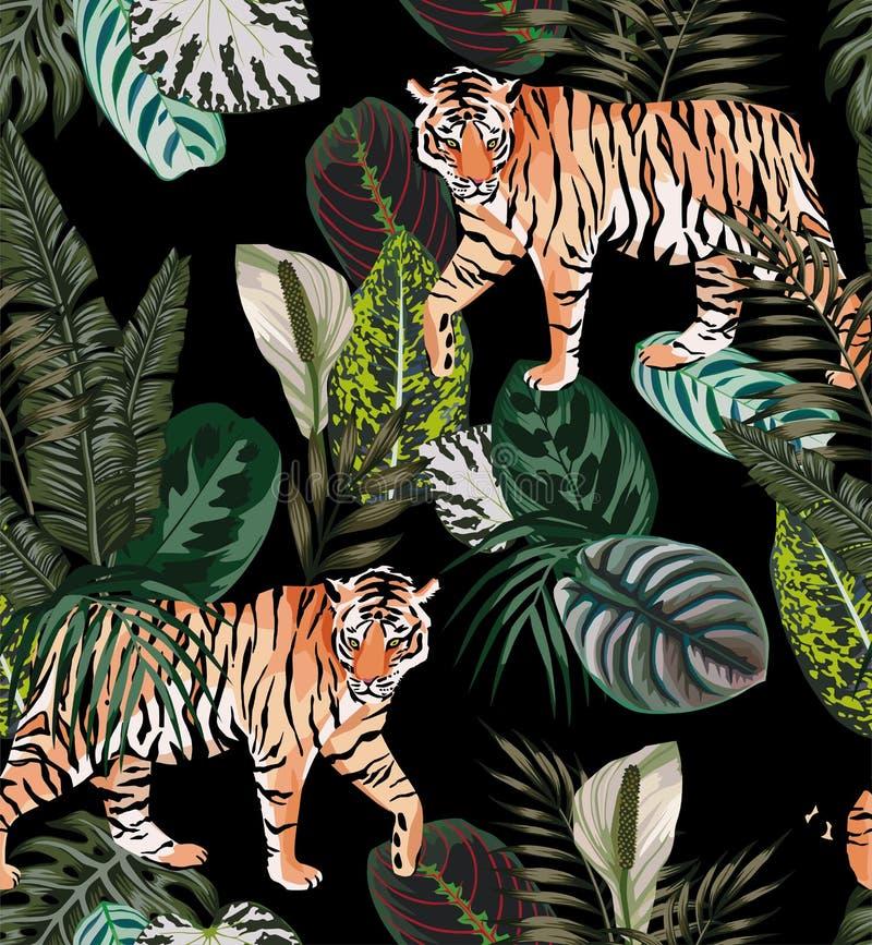 Tiger dark jungle pattern royalty free illustration