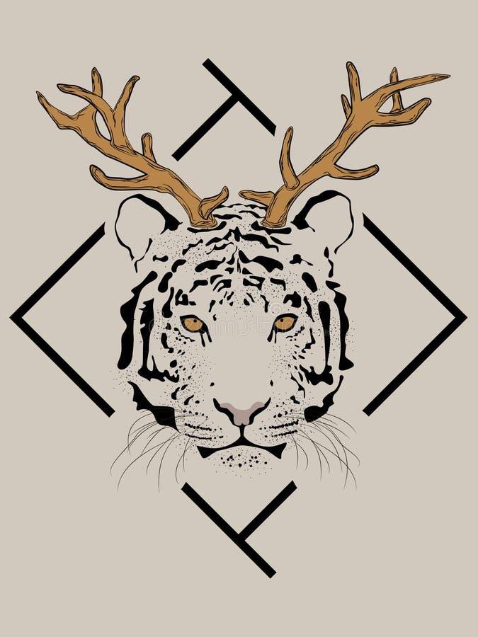Tiger with deer antlers in front of the black frame. stock illustration