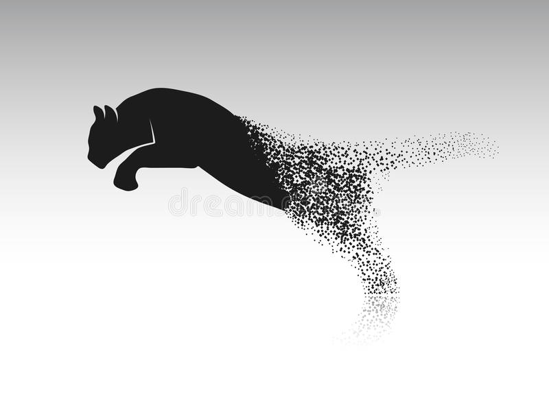 Tiger, der von den aufgelösten Stücken springt vektor abbildung
