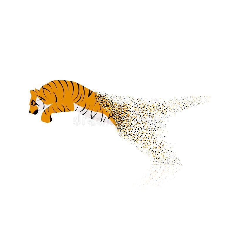Tiger, der von den aufgelösten Stücken springt stock abbildung