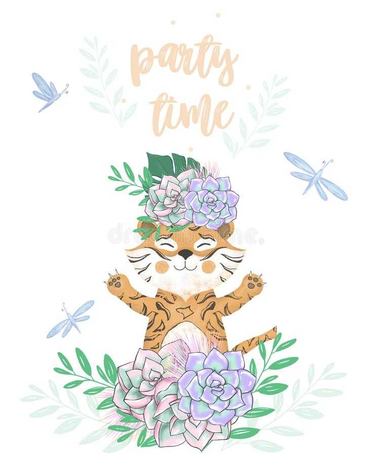 Tiger Digital Clip Art Cute Animal And Flowers Party Time Text
