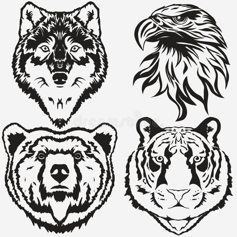 Tiger Eagle Wolf Bear-embleem vastgestelde vector vector illustratie