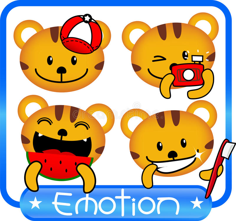 Tiger Emotion Cute Stock Vector