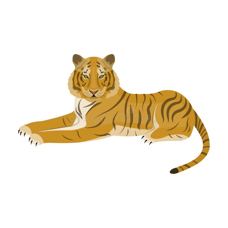 Tiger ett rov- djur Den belgiska tigern, en enkel symbol för stor lös katt i materiel för symbol för tecknad filmstilvektor stock illustrationer