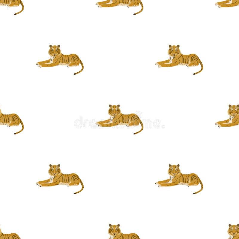 Tiger ett rov- djur Den belgiska tigern, en enkel symbol för stor lös katt i materiel för symbol för tecknad filmstilvektor vektor illustrationer