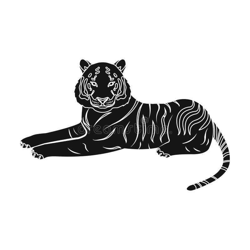 Tiger ett rov- djur Den belgiska tigern, en enkel symbol för stor lös katt i svart materiel för stilvektorsymbol stock illustrationer