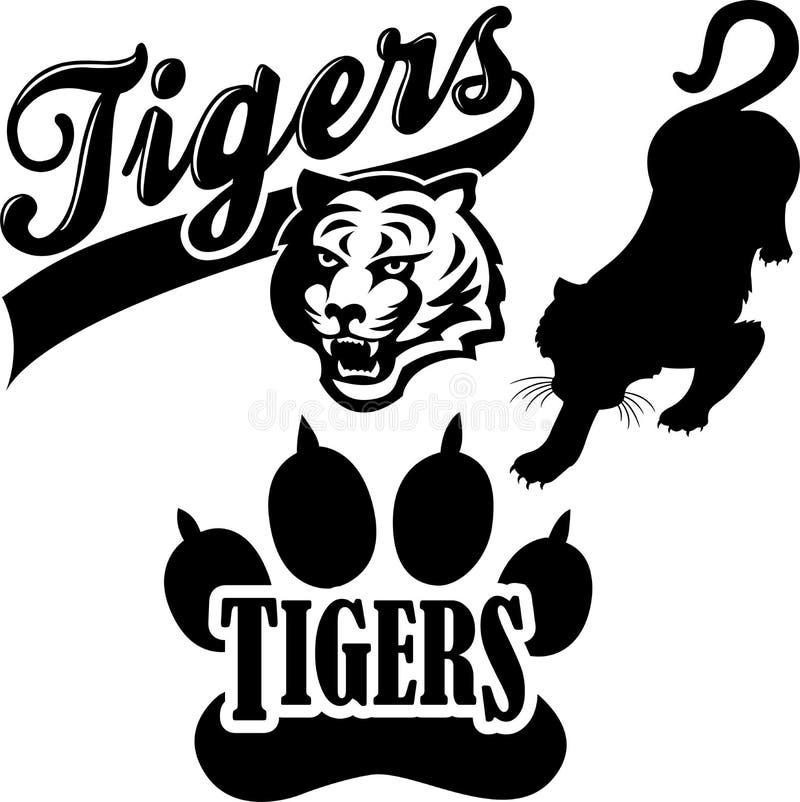 tiger för eps-maskotlag stock illustrationer