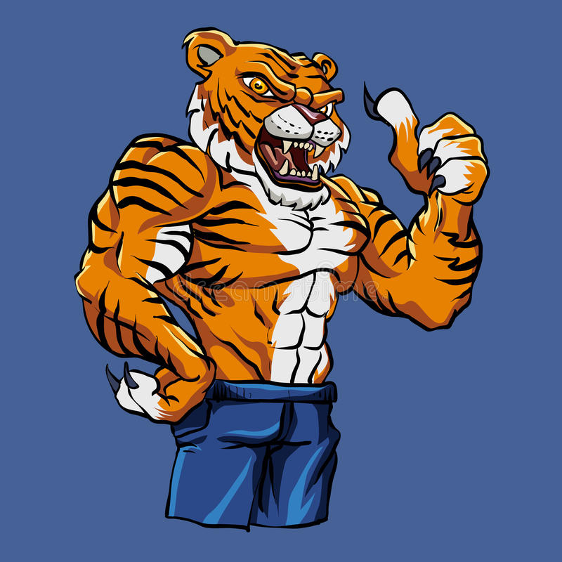Tiger Fighting Mascot royalty-vrije illustratie