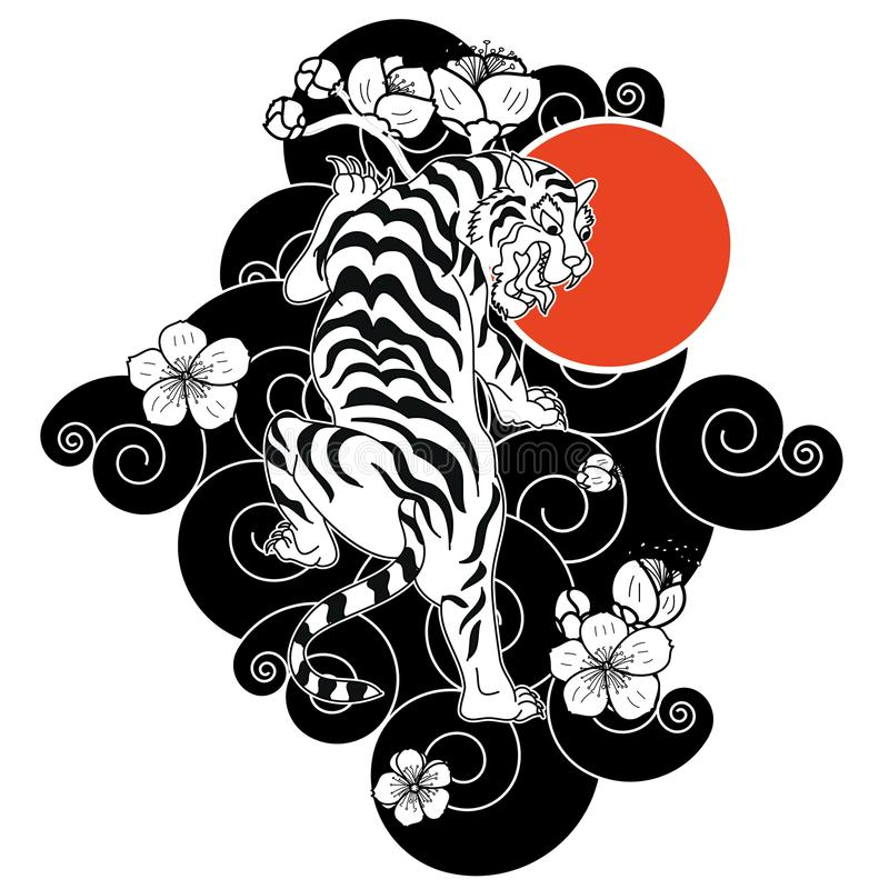 Tiger With Flower And Japanese Cloud Tattoo Design Vector