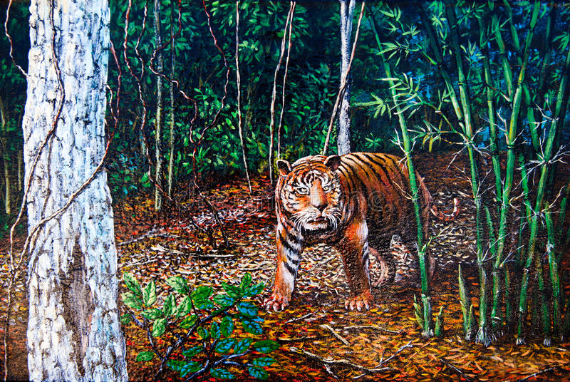 Download Tiger In The Forest Of Oil Painting Stock Illustration - Image: 24881502