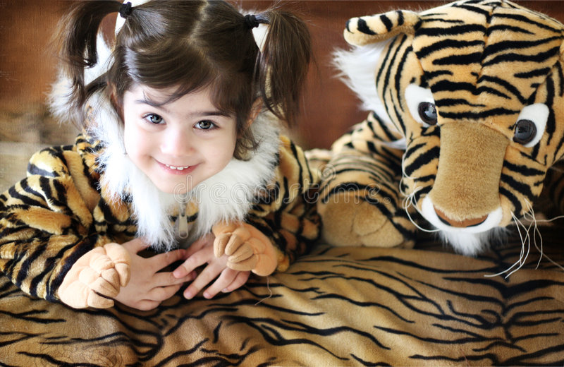 Download Tiger Girl stock photo. Image of ears, cover, pattern - 4046476
