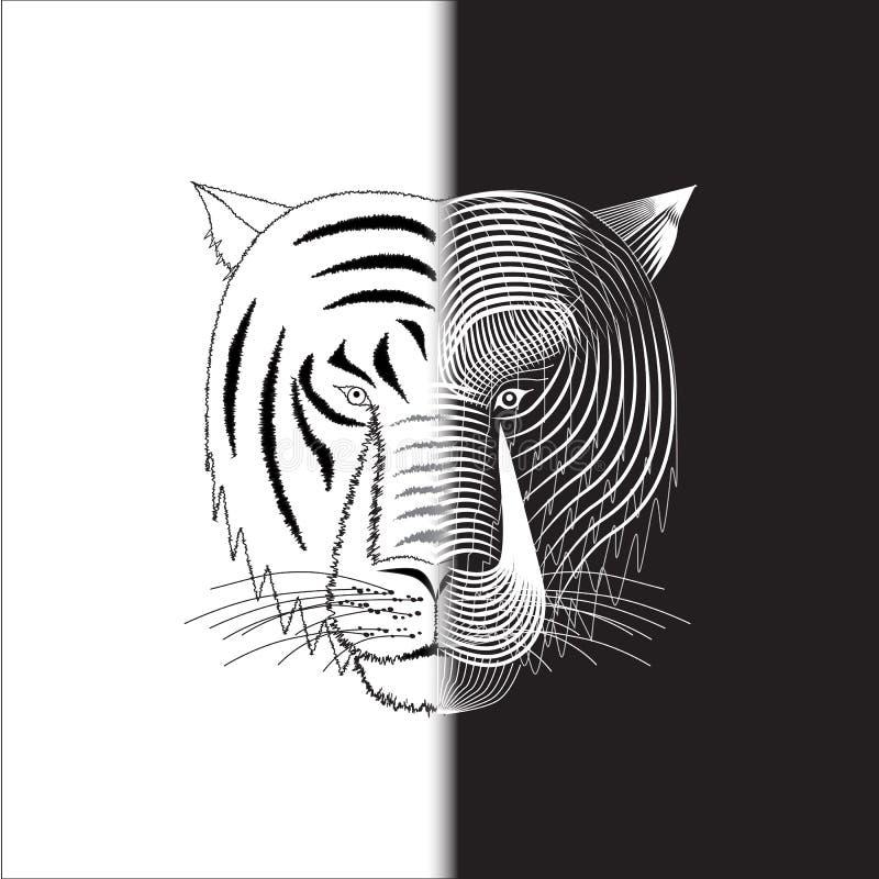 Tiger half wire face stock photo
