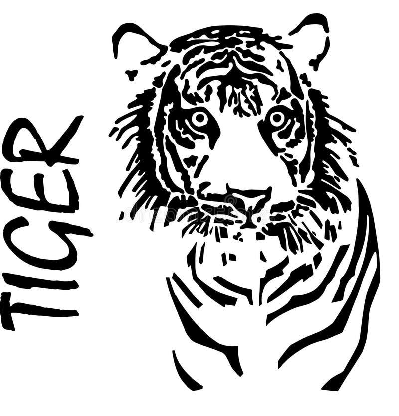Tiger handteckning, vektor stock illustrationer