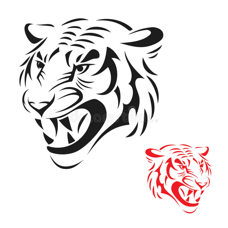 Download Tiger head stock vector. Image of drawing, isolated, sign - 26812551