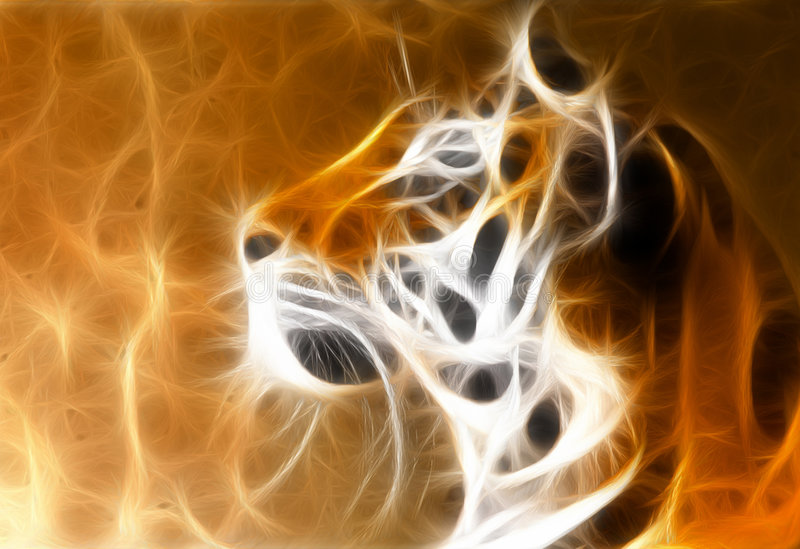 Tiger head. A fractal - render of a Siberian tiger with gorgeous stripes vector illustration