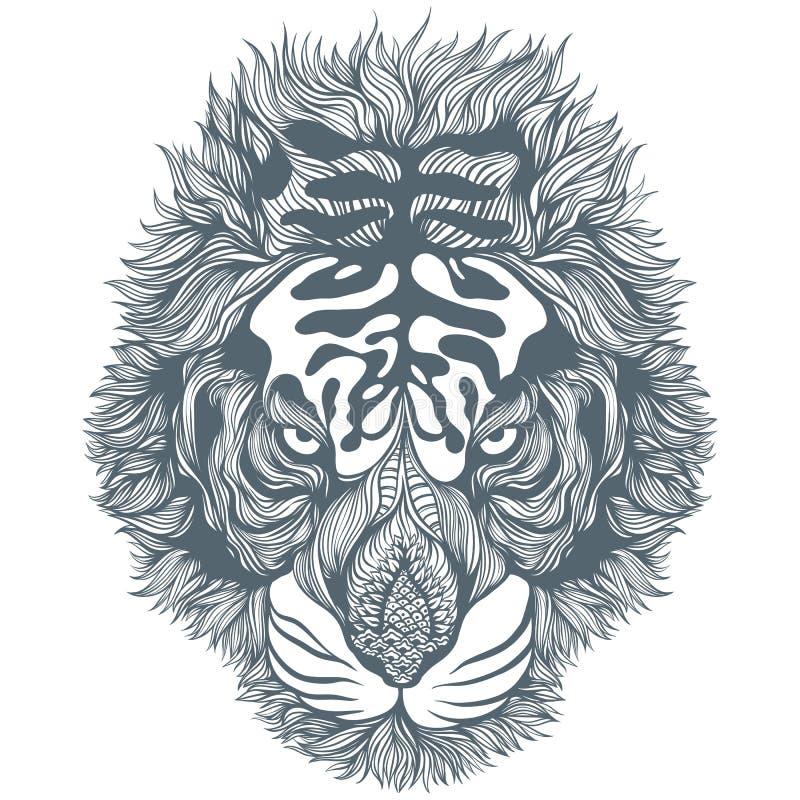 Tiger Head astratto nero disegnato a mano Illustrazione di vettore fotografia stock