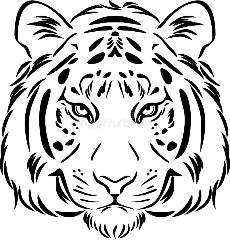 Tiger Head. Black And White Outline Stock Vector ...