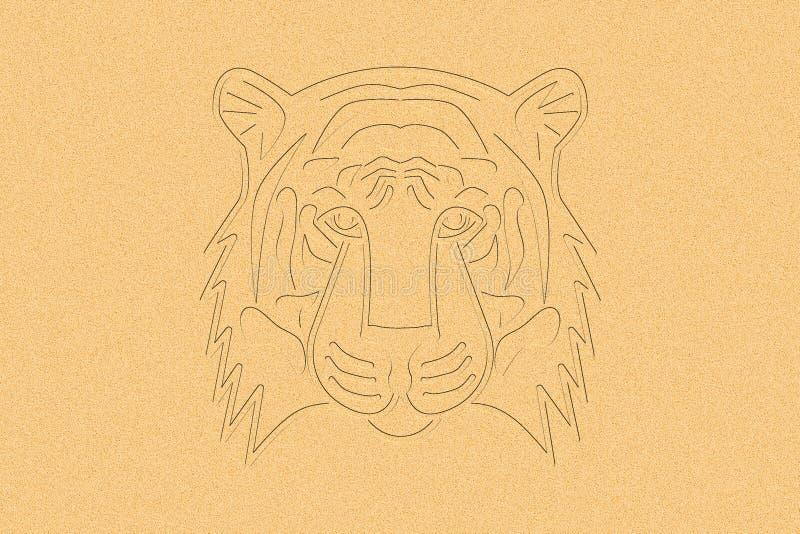 Tiger Head dans le sable illustration de vecteur