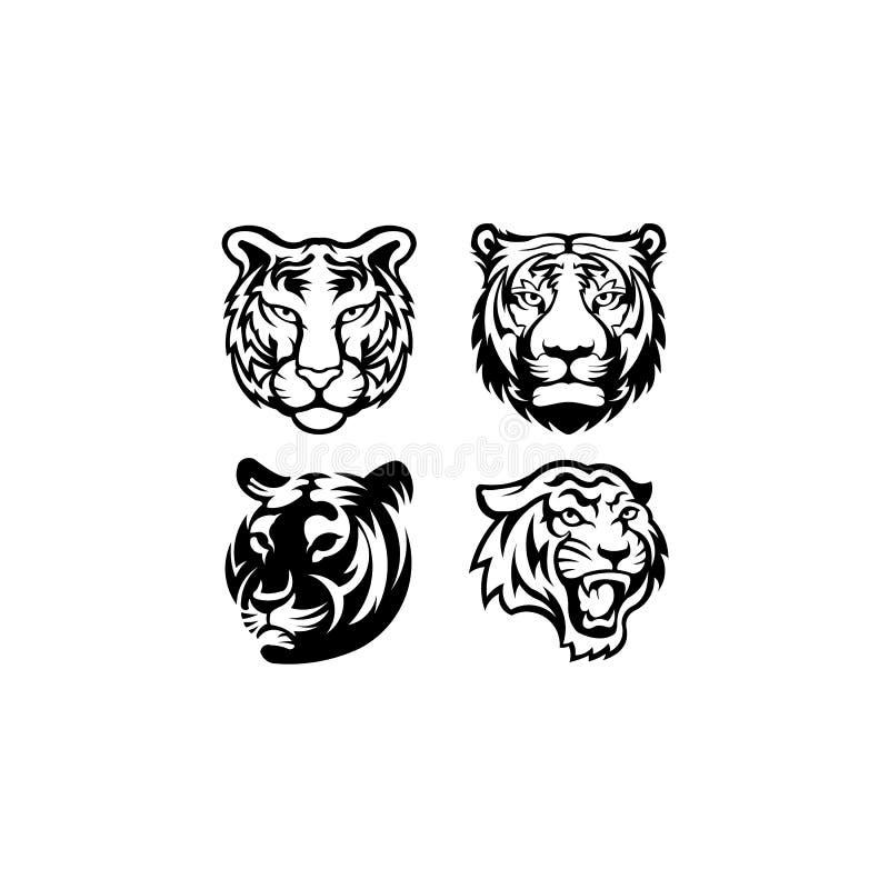 Tiger head face logo vector template,animal mammal tiger mascot. Angry tiger head face logo vector template,animal mammal tiger mascot stock illustration