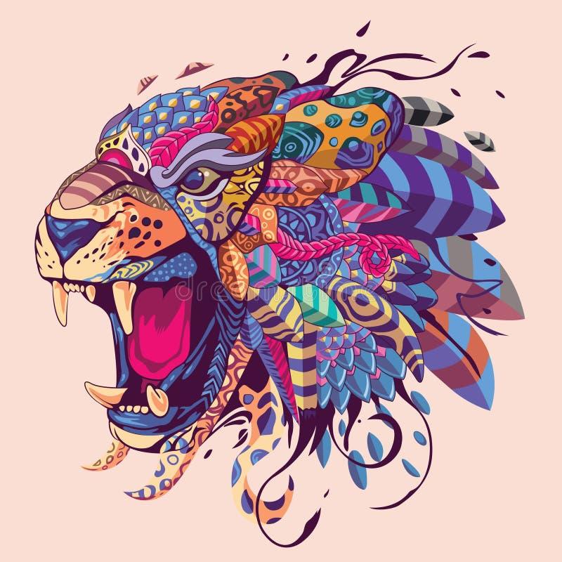Tiger Head Illustration colorido ilustração stock