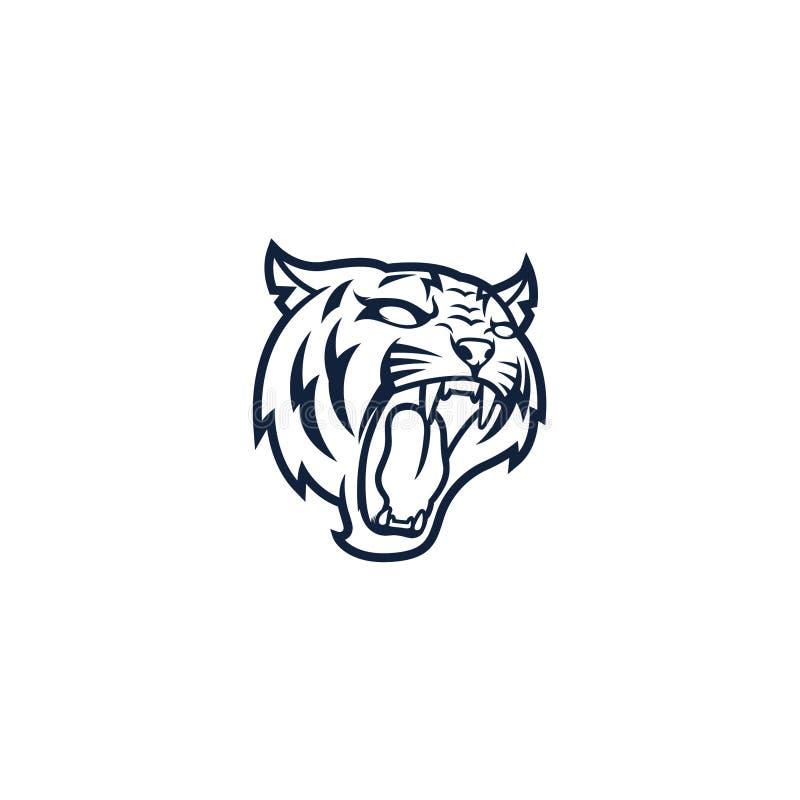 Tiger Head Line Art Logo vektor illustrationer