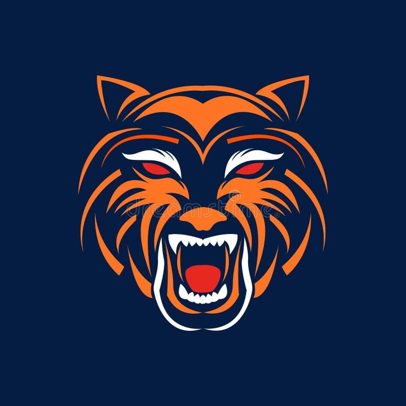 tiger head logo design template vector illustration