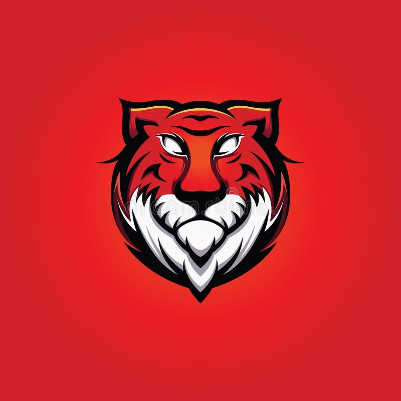 Tiger Head Mascot grande com fundo vermelho ilustração royalty free