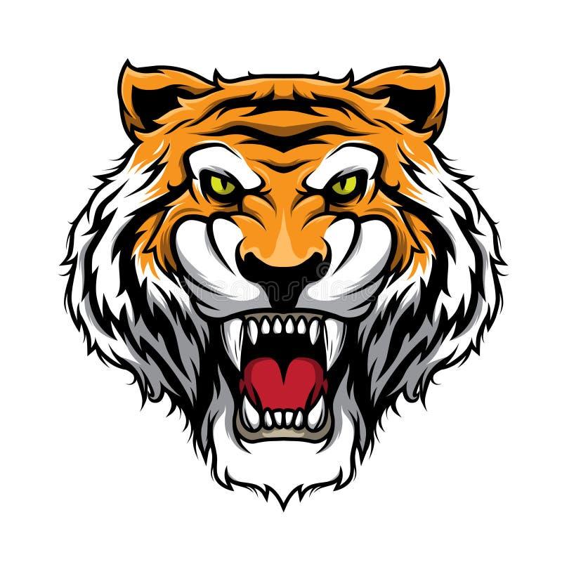 Tiger Head Mascot Illustration Vector i tecknad filmstil arkivfoton