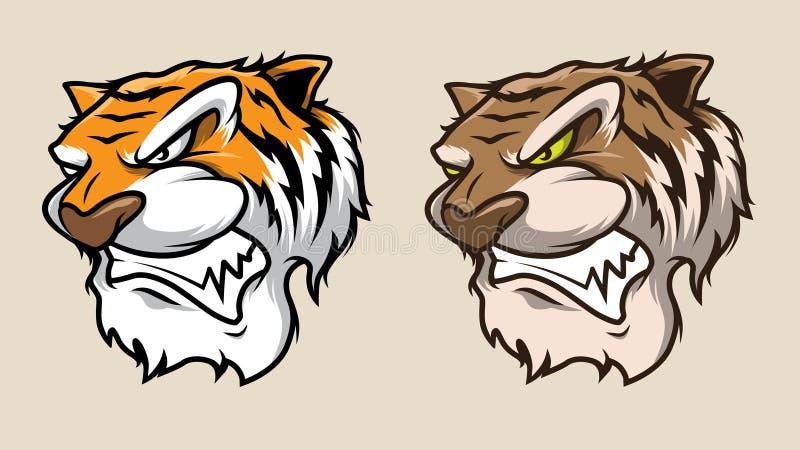 Tiger Head Mascot Illustration Vector i tecknad filmstil arkivbilder