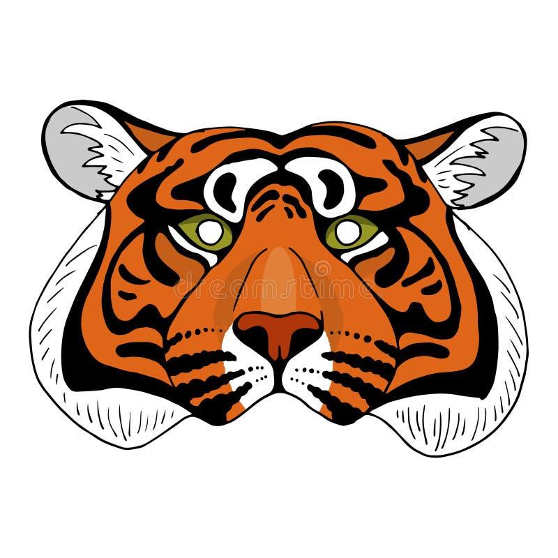 Tiger head mask on white background royalty free illustration