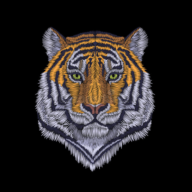 Tiger head noble staring. Front view embroidery patch sticker. Orange striped black wild animal stitch texture textile print. Jung. Le logo illustration art vector illustration