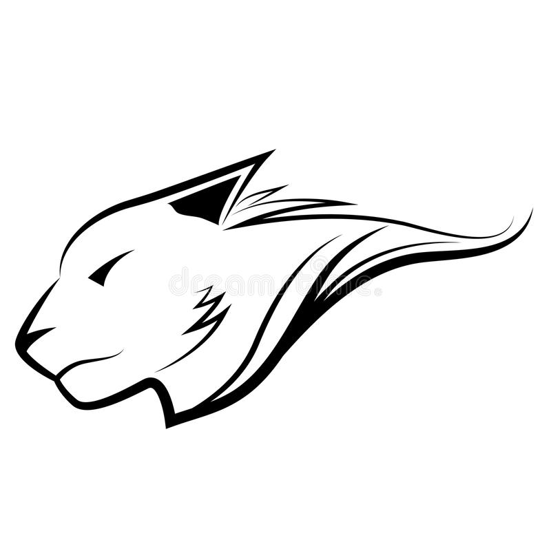 Tiger head in outline. Abstract Panthera tigris head in outline for website and graphic design vector illustration