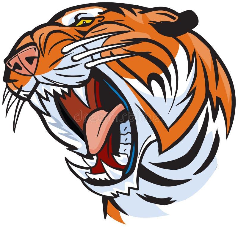 Tiger Head Roaring Vector Cartoon illustration vektor illustrationer
