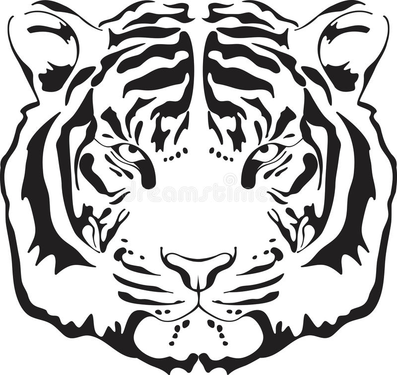Tiger head silhouette. royalty free illustration