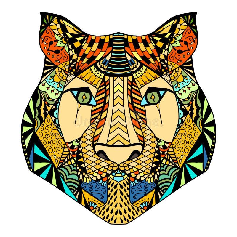 Tiger head sketch stock illustration