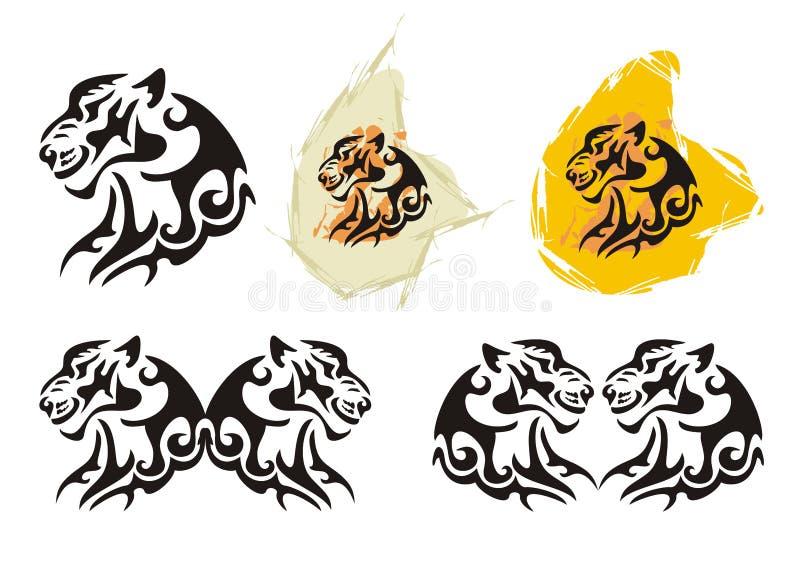 Tiger head symbols in tribal style royalty free illustration