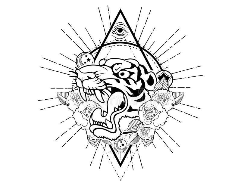 Tiger head tattoo sketch with roses vintage neo traditional tattoo sketch. Hand drawn retro animal tattoo sketch with roses in vintage style. ornate romantic vector illustration
