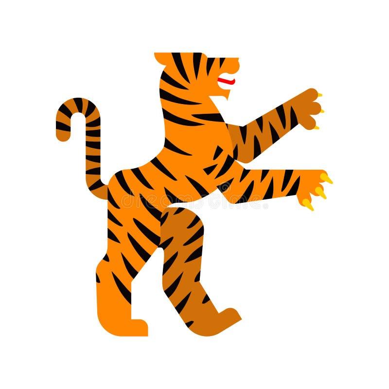 Tiger Heraldic-dier Fantastisch Dierenmonster voor wapenschild stock illustratie