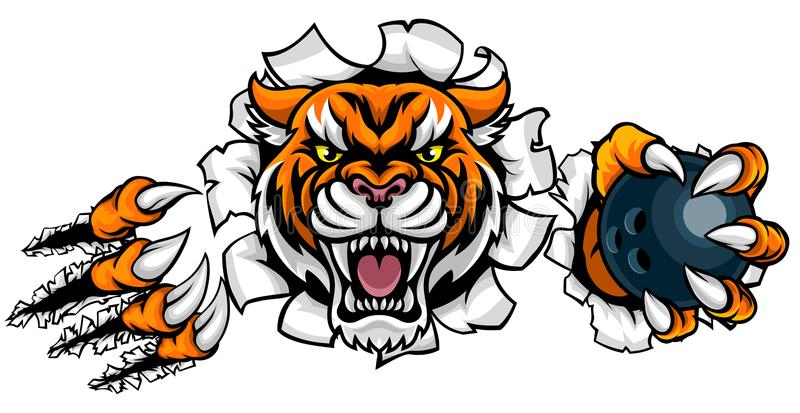 Tiger Holding Bowling Ball Breaking-Achtergrond stock illustratie