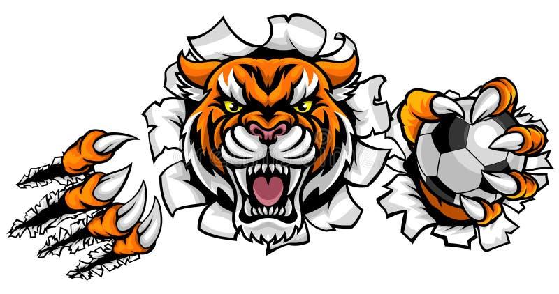 Tiger Holding Soccer Ball Breaking-Achtergrond vector illustratie